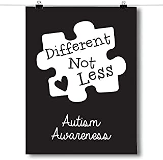 Inspired Posters - Different Not Less - Black Autism Awareness Puzzle Piece Decorative Wall Art Poster - Modern Home Decor - Motivational Posters - UV Print 8 x 10 Poster