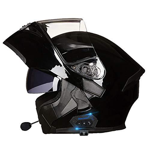 Casco de Motocicleta Modular Integrado con Bluetooth HD Negro Marrón Lente Auriculares y micrófono Integrados Casco de Carreras de Cara Completa Diseño 54~63CM