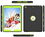 Ipad 3 Generation Case, Ipad 4 Gen Case, High-Impact Shock Absorbent Silicone Hard Plastic Dual Layer Protective Case for IPad 2/3/4 Gen Model A1458 A1430 A1416 Black Green