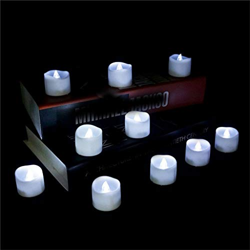 Flameless LED Tea Light Candles, Realistic and Bright Flickering Bulb, Battery Operated, Timed flashing, Flameless Candles, Unscented, for Home Decor or Seasonal Celebration (C)