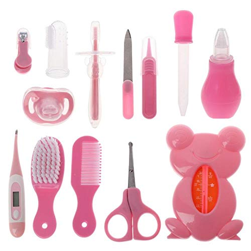Healthcare Kit, 13PCS Baby Health Care Kit Nagelknipser Kamm Pflege Haarbürste Schnuller Zahnbürste Neugeborene Sicherheitspflege-Tool-(Rosa)