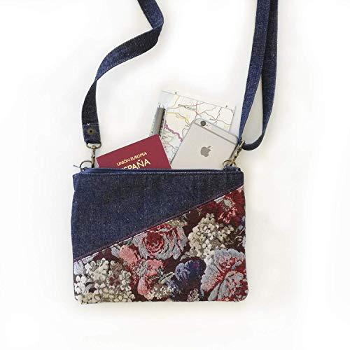 Bolso bandolera pequeño, bolso mini de viaje con cremalleras, bolso cruzado con bolsillo, bolso combinado en vaquero y estampado de flores azul para mujer.