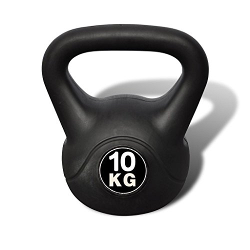 vidaXL Pesa Rusa de 10 Kilos Negra Kettlebell Musculación Fitness Ejercicio