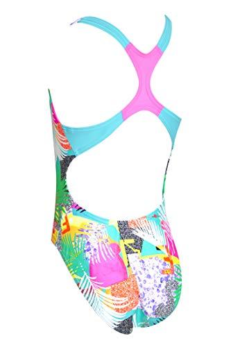 Zoggs Rowleeback Eco Fabric-Traje de baño de una Pieza, Niñas, Multicolor/Montage, 8 Years (28/128 cm)