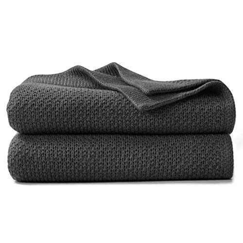 VEEYOO Throw Blanket for Couch  Lightweight Cozy Blankets and Throws 50 x 65 Inch Knit Soft Charcoal Throw Blankets for Sofa Bed Office Travel Office