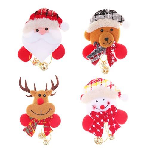 Amosfun Glühende Brosche des Weihnachten 4pcs mit Glockenkarikaturweihnachtsplüschbroschen-Geschenkdekorationen