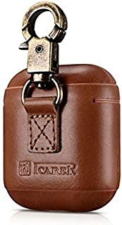 Metal Buckle Genuine Leather Case for Apple Airpods. Shockproof Cover For AirPods Vintage Earphone Protective Case (Brown)