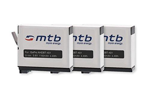 3X Batería AHDBT-401 [Li-Ion - 3.8V / 1160mAh] Compatible con GoPro Hero4 / Hero 4 Black, Silver, Surf & Music Edition