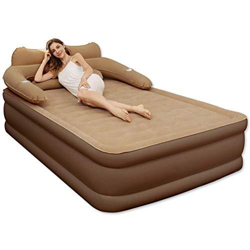 Zixin Doppelluftmatratze Haushalt aufblasbare Matratze Folding bewegliches Bett mit 2 Kopfstütze und elektrischer Luftpumpe, 203X152x43cm Luftmatratze