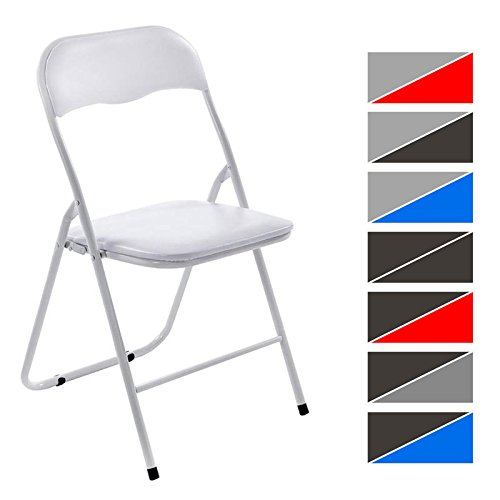CLP Klappstuhl Küchenstuhl Felix, Metallgestell, Kunststoff-Sitz gepolstert weiß/weiß
