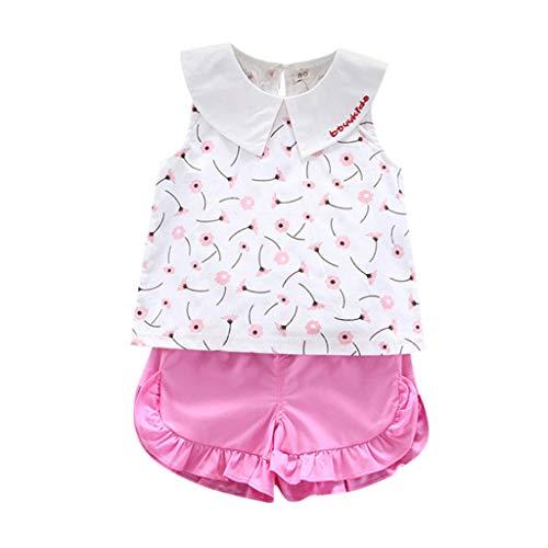 Conjuntos para Bebés Niñas Verano Recién Nacidos Bautizo PAOLIAN Camisetas Niñas Bebes de Tirantes sin Manga y Pantalone Cortos Ropa para Niñas Bebes Vestir Fiestas Casual 6 Meses-3 Años