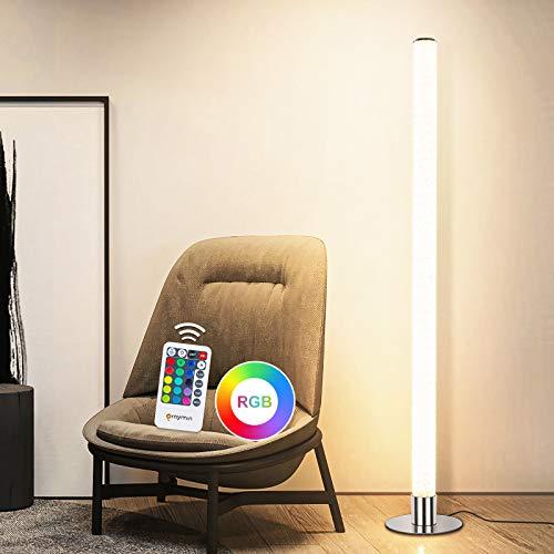 LED Stehleuchte Dimmbar mit fernbedienung 11W, RGB Stehlampe Farbwechsel mit 15 Lichtfarben, Speicherfunktion, LED Stehleuchte für Wohnzimmer kinderzimmer Schlafzimmer Spielzimmer, Höhe 105CM