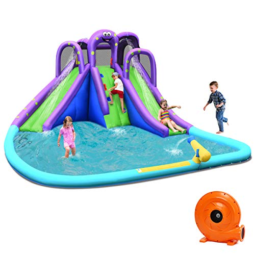 BOUNTECH Inflatable Water Park, Mighty Bounce House w/ Large Splash Pool, Climbing Wall, Double Slides, Water Cannon, Netting, Including Carry Bag, Repair Kit, Stake, Hose (with 780W Blower)