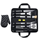 MARNUR BBQ Tools Barbecue Accessories Grilling Tools Set 7-Piece Spatula Fork Grill Brush Tongs with Portable Case for Camping Picnic and Home Kitchen