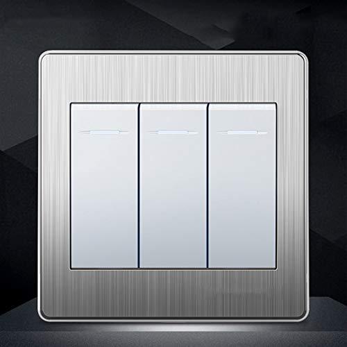 Foicags Dibujo de alambre Tipo de plata 86 interruptor de balancín de la pared oculto Luz de pared de acero inoxidable de acero inoxidable Restaurante Comercial Single o doble control Rocker Switch Re