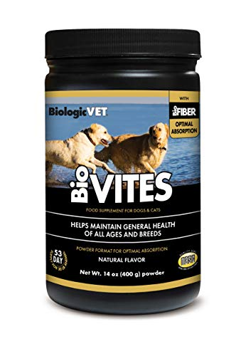 BiologicVET BioVITES Dog & Cat Multivitamin Powder Supplement  Essential Vitamins  Minerals  Enzymes  Antioxidants & Prebiotics  for Digestive  Joint  Heart  Intestinal  Hormone Health  NASC Certified