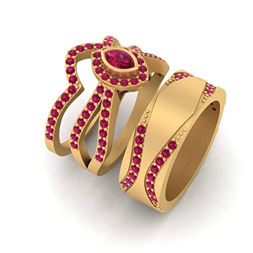 Anillo de boda de oro amarillo Fn 925 de plata esterlina de corte marquesa rosa rubí halo conjunto de anillos a juego