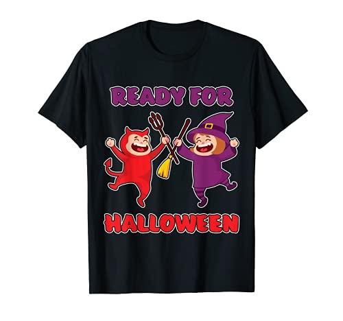 Hexe Teufel Ilustración divertida frase Ready For Halloween Camiseta