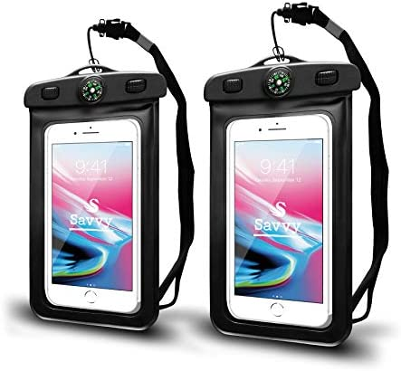 SAVVY Waterproof Cell Phone Pouch Dry Bag with Neck Lanyard Compass Cruise Essentials Protects product image