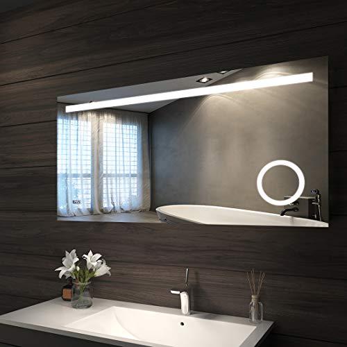 Bad Spiegel mit LED Beleuchtung 120 x 60 cm Badspiegel Badezimmerspiegel mit Sensor-Schalter, Schminkspiegel und Digital Uhr [Energieklasse A+] P44 - kaltwei?