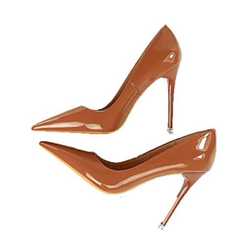 Otoño Charol Zapatos de Mujer concisos Punta Estrecha Oficina Tacones Altos Bombas Fiesta Boda Zapatos Desnudos Poco Profundos