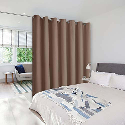 NICETOWN Privacy Room Divider Curtain Screen Partitions, Sound Blocking Blackout Room Divider Patio Door Curtain Panel for Glass Window/Sliding Door/Hall(1 Panel, 8.3ft Wide x 7ft Long, Cappuccino)