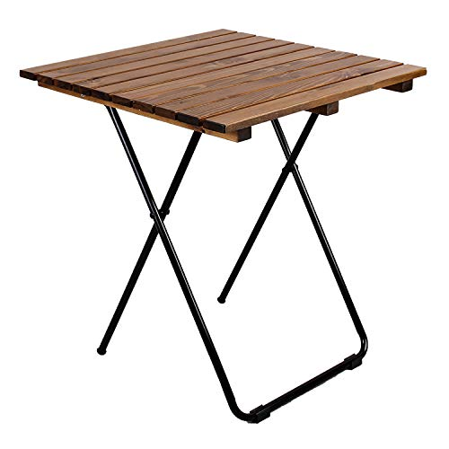 Mojawo Campingtisch Klapptisch Gartentisch Camping Beistelltisch Reisetisch Holz/Metall braun 45x45x50 cm