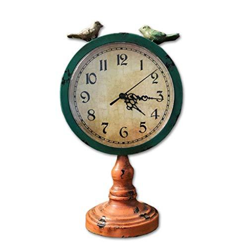 ZCZZ Reloj De Mesa, Silencioso Reloj De Cuarzo Analógico, Antiguo Reloj De Hierro para Decoración del Hogar, Reloj De Mesa De 8 Pulgadas para Decoración De Sala De Estar Y Cocina