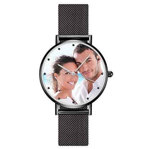 SOUFEEL Personalisierte Uhr mit Foto Gravur Armbanduhr Edelstahl Klassisch Analog Zifferblat täglich Wasserdicht Schwarz Geschenk für Männer