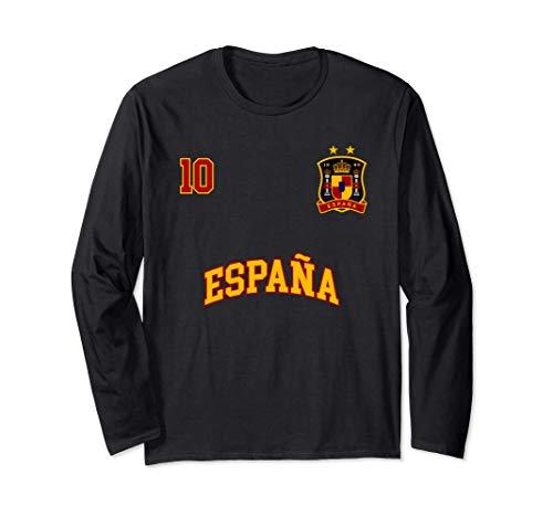 Equipo Deportivo Fútbol España No 10 Bandera Española Manga Larga