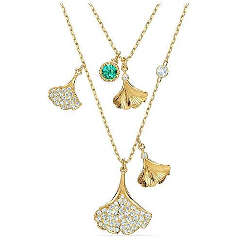Swarovski Halskette 5527079 Ginko im Lagenlook grün, vergoldet