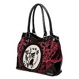 Sac à main noir et rouge rétro avec camée motifs de chats et de fleurs, élégant casual