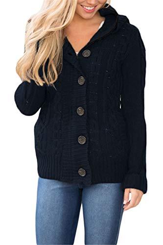 Dokotoo Damen Casual Strickjacke Langarm Pullover mit Kapuzen Taschen Sweater Botton Down Warm Outwear Reißverschluss Dunkel Blau S gr. 36 38