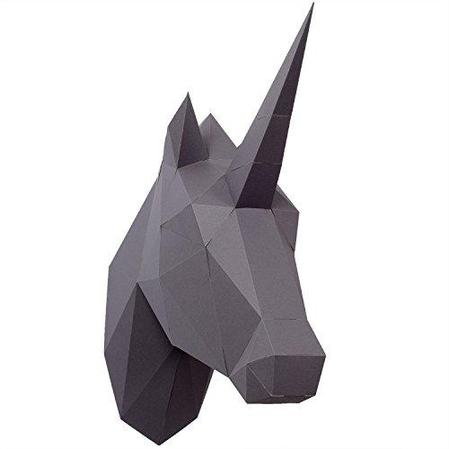 PaperShape 3D Einhorn ohne kleben sehr schnell zusammengebaut. Tierkopf Wand-Trophäe als Deko aus FSC-Papier in 3 Farben Einhorn-Kopf Maße 42 x 14 x 35 cm. Made in Germany (urban Grey)
