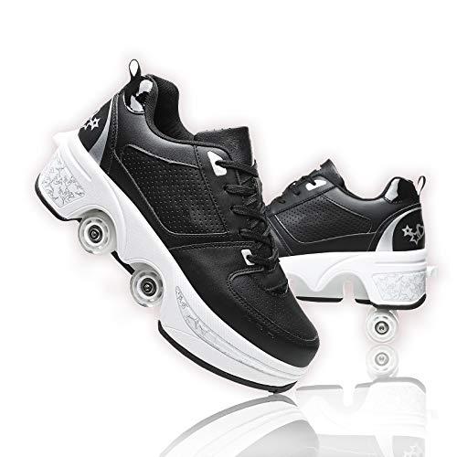 NNZZY Fbewan Multifunktionale Deformation Schuhe Quad Skate Rollschuhe Skating Outdoor Sportschuhe für Erwachsene, Black, 39