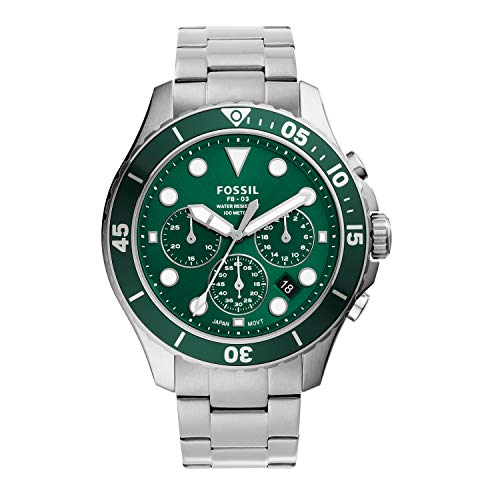 Fossil Men's FB-03 Quartz Stainless Chronograph Watch, Color: Silver, Green Dial (Model: FS5726)