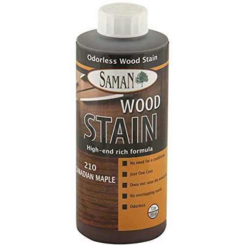 SamaN Interior Water Based Wood Stain & natural furniture, moldings, wood paneling and cabinets stain (Canadian Maple TEW-210-12, 12 oz)