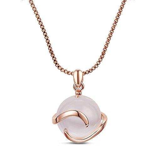Collar para mujer Sweetiee chapado de oro 18 K, con forma de onda y ojo de gato, en oro rosa, 400 mm