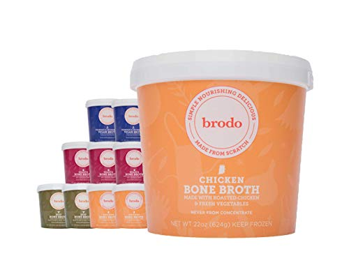 Bone Broth by Brodo Variety Pack (Chicken, Beef, Hearth, Veggie), 10 Pack, Keto Diet, Gluten Free, Paleo Friendly, Whole 30 Approved, Great for Intermittent Fasting, 22 fl oz