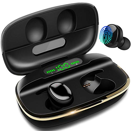 Wireless Earbuds, DuoTen IPX7 Waterproof Bluetooth Wireless Earphones, 3000mAh Charging case 150H Playtime Touch Control with LCD Display CVC8.0 Noise Cancellation for Running Work Study