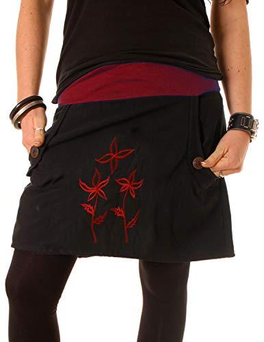 Vishes - Alternative Bekleidung - Baumwollrock mit Blumen Stickerei und Taschen Tiefrot-Schwarz 38-40