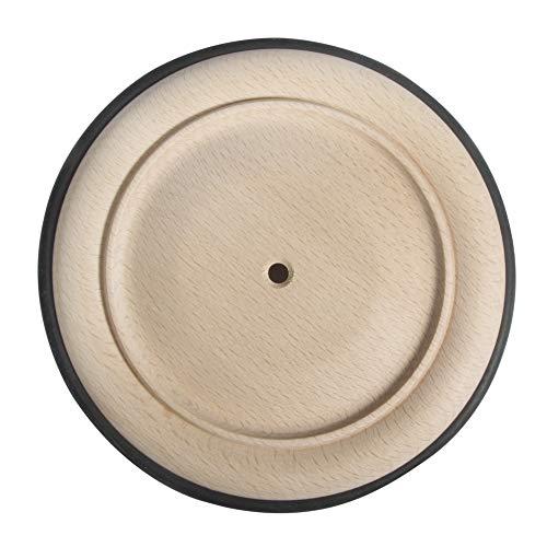 Rayher 6122400 Holzrad, Buche natur, unbehandelt, mit schwarzer Gummibereifung, 14 cm Ø, Bohrung 6 mm Ø, Holzräder mit Gummiring aus Kautschuk