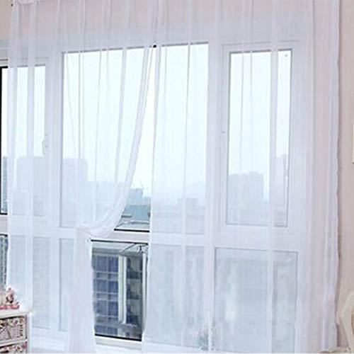 Moda Semplice Tinta Unita Tulle Porta Finestra Tenda Lavabile Drappo Pannello Sciarpa Pura mantovane Design Traslucido(Bianca) Jasnyfall