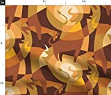 Spoonflower Stoff – Bullseye Gold Jahr Geometrisches