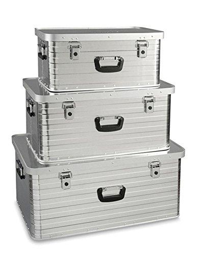 Enders Aluboxen Set 47, 80 und 130 Liter + Schloss Set, hochwertig verarbeitet, mit Moosgummidichtung, Alukiste flexibel verwendbar als Transportbox und Lagerbox - Alukoffer Lagerkisten Metallkiste Metallbox Alubox Alukisten