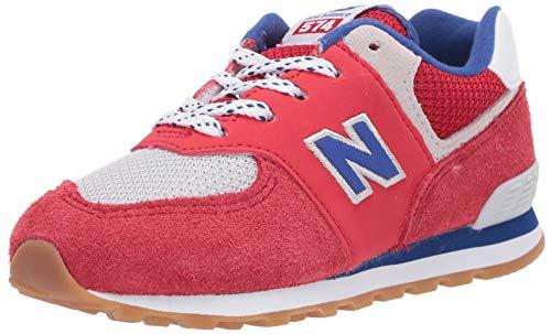 New Balance 574v1 Mädchen Sneaker zum Schnüren, Team Red/Marine, 3 R W US Infant (0-12 Monate)