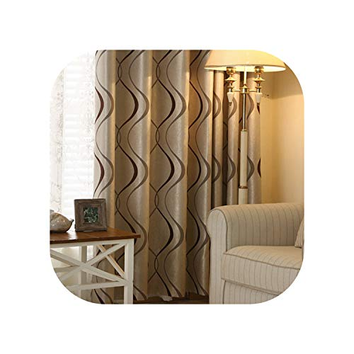 FAT BIG CAT Thick Luxury Wavy Striped Design Curtains for Living Room Bedroom Curtains Decoration Modern Blackout Curtains,Coffee,W100xH270cm,3 Rod Pocket