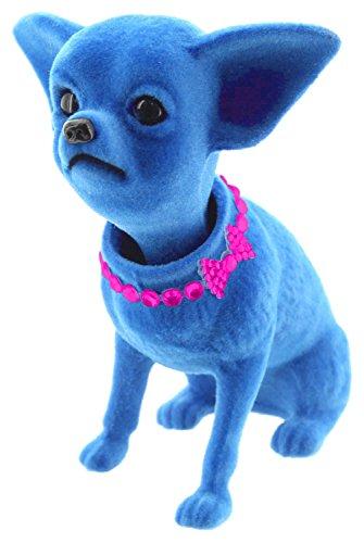 Melancholita Wackelhund Wackelkopf Chihuahua ideal für das Auto (Blau)