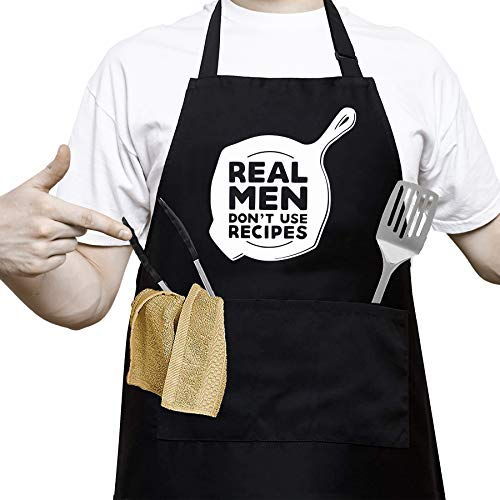 Men's Cooking Kitchen Aprons, Waterproof Bib Aprons with Adjustable Straps and 2 Pockets - BBQ Grill Apron Baking Apron for Husband, Birthday, Christmas, Thanksgiving Gifts for Dad, Boyfriend