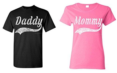 shop4ever Daddy - Mommy Baseball Couples Matching T-Shirts - Men Large Black//Women Medium Pink